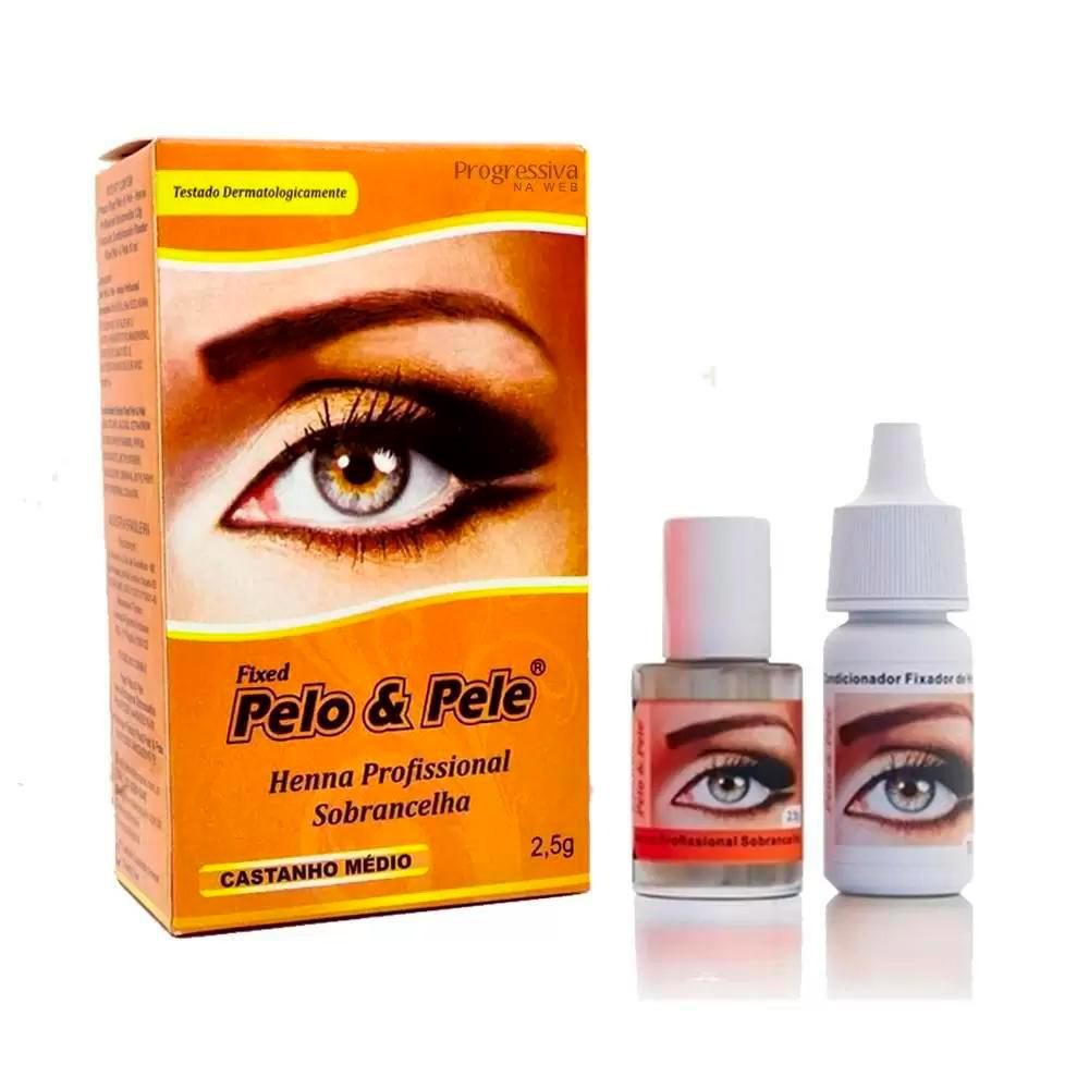 Henna P/ Sobrancelha Pelo & Pele Castanho Médio - 2,5g - Pelo E Pele