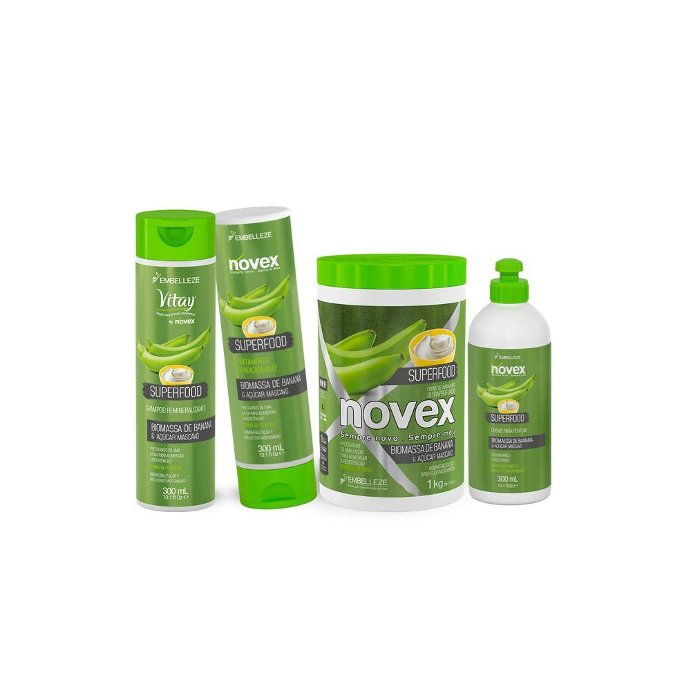 Kit Novex Superfood Biomassa de Banana e Açúcar Mascavo