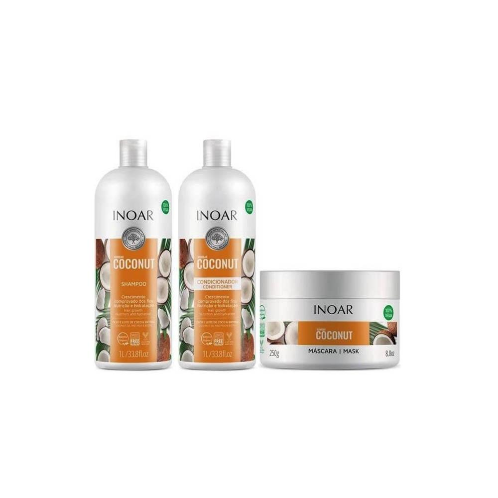 Kit Inoar Shampoo e Condicionador Máscara Hidratante Inoar Bombar Coconut Hidratação Óleo e Leite de Coco Crescimento dos Fios